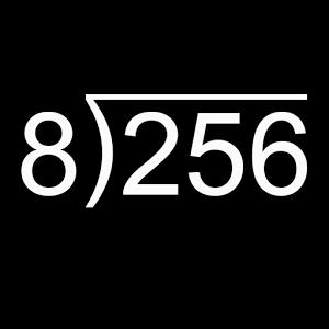 La división. Arrastra dígitos hacia abajo, mueve el decimal y pulsa para identificar decimales repetidos.