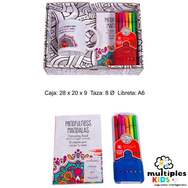 Kit de libro mandala con rotuladores y taza