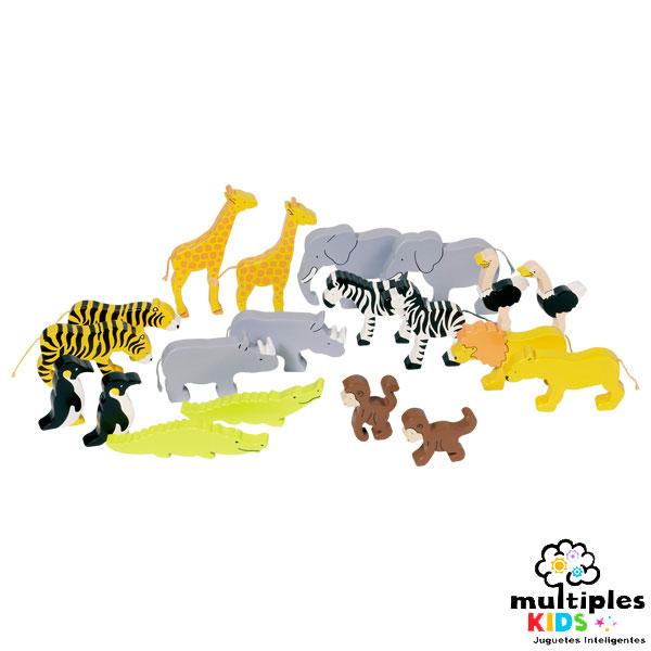 Animales salvajes de madera