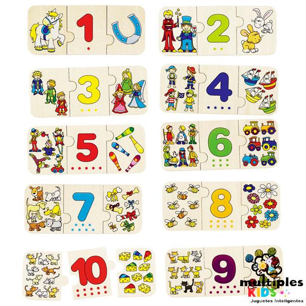 Puzzle números y cantidad