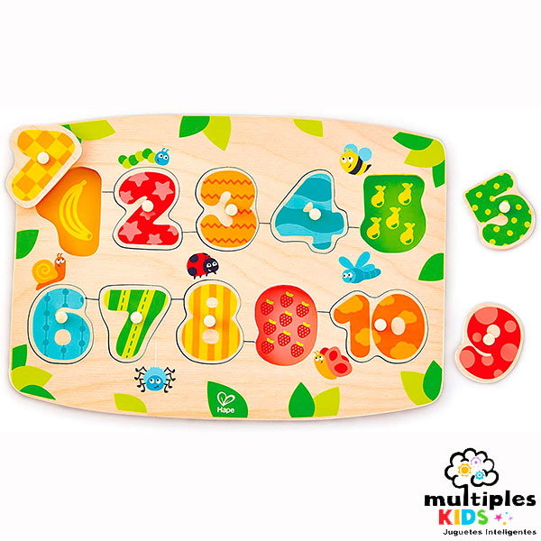 Encajable de números y frutas